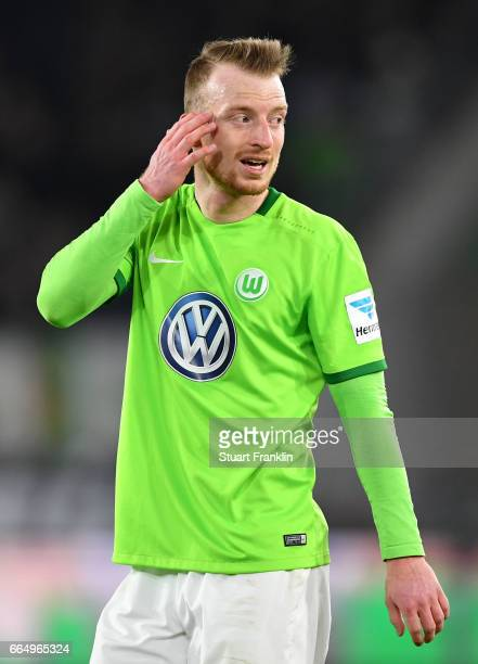 Maximilian Arnold of Wolfsburg looks dejected during the Bundesliga match between VfL Wolfsburg and SC Freiburg at Volkswagen Arena on April 5 2017...
