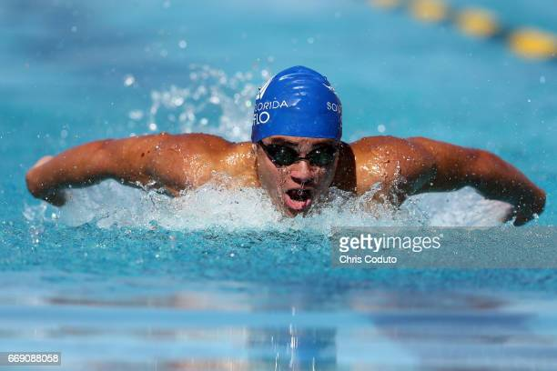 Maximilian Asnis competes in the preliminary heat of the men's 200 meter butterfly on day three of the Arena Pro Swim Series Mesa at Skyline Aquatic...