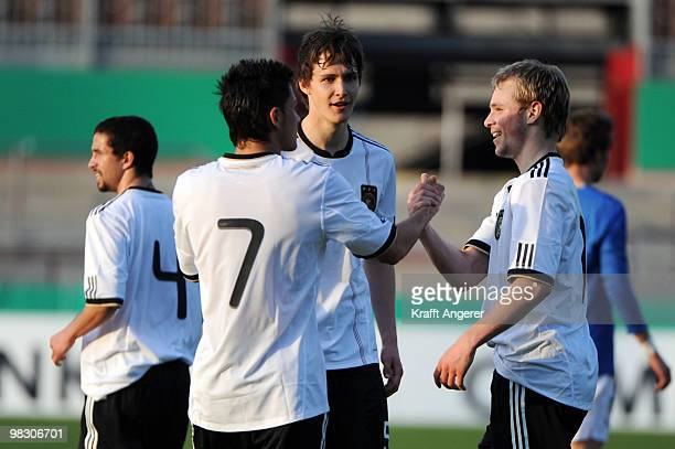 Maximilian Beister and Danny Latza of Germany celebrate the third goal during the U20 International friendly match between Germany and Italy at the...