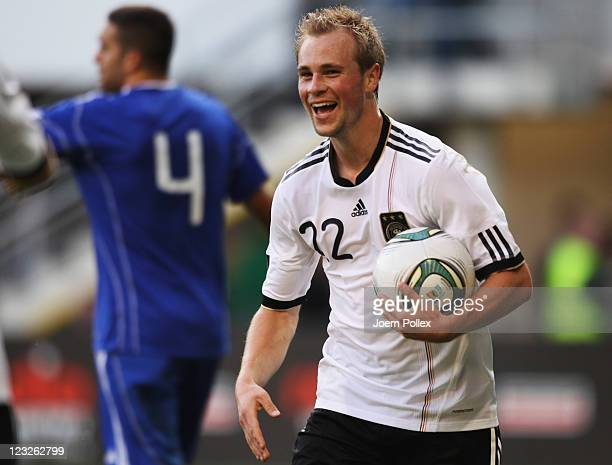 Maximilian Beister of Germany celebrates after scoring his team's seventh goal during the 2013 UEFA European Under21 Qualifier Group 1 match between...