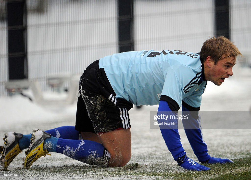 Maximilian Beister of Hamburg ponders during a training session of Hamburg SV on January 23, 2013 in Hamburg, Germany.