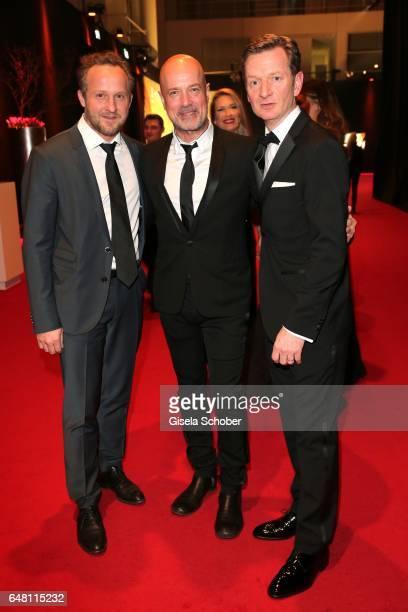 Maximilian Brueckner Christian Berkel and Michael Kessler during the Goldene Kamera reception at Messe Hamburg on March 4 2017 in Hamburg Germany
