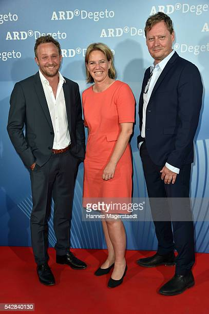 Maximilian Brueckner Christine Strobl and Nils Willbrandt during the ARD Degeto Get Together during the Munich Film Festival 2016 at Kaisergarten on...