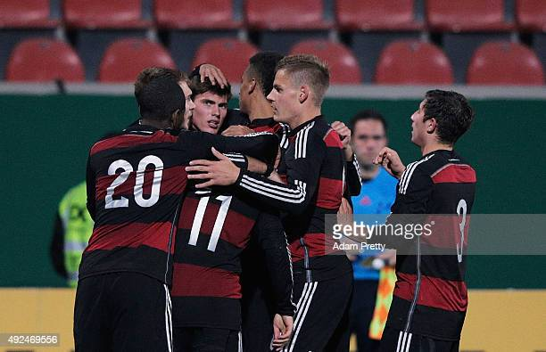 Maximilian Dittgen of Germany is congratulated after scoring a goal during the U20 MercedesBenz Elite Cup match between Germany and England at...