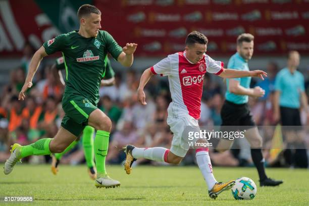 Maximilian Eggestein of SV Werder Bremen Abdelhak Nouri of Ajax during the friendly match between Ajax Amsterdam and SV Werder Bremen at...