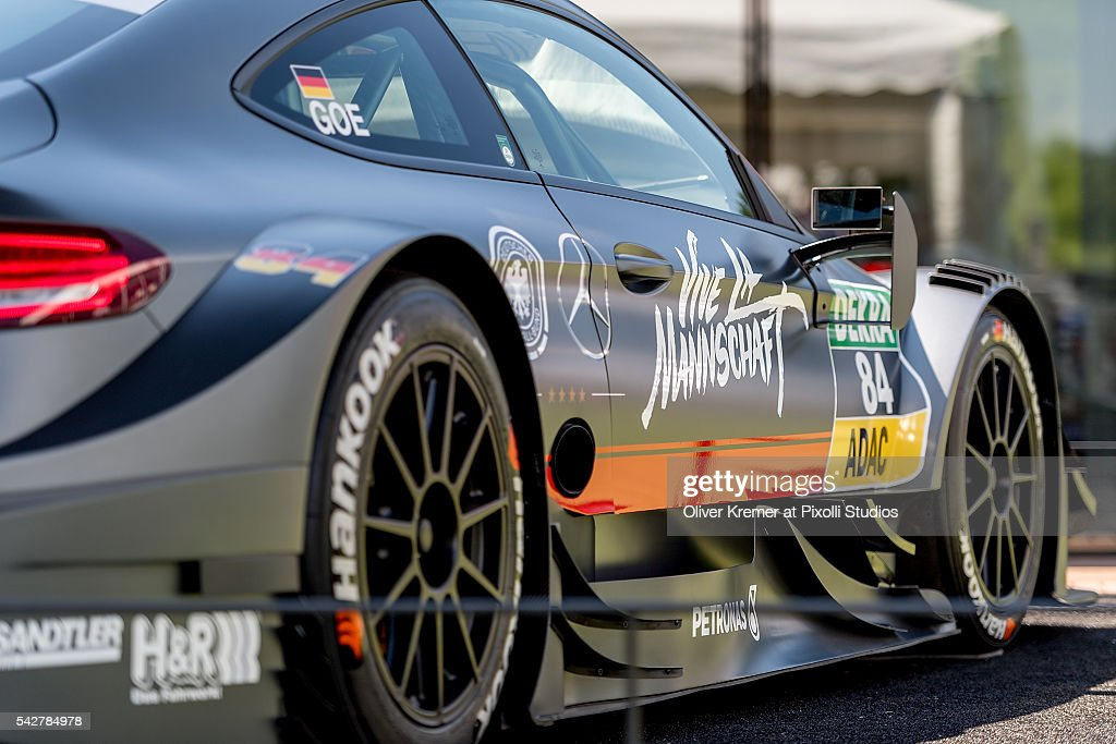 Maximilian Goetz' (GER) race car sprayed with 'Vive La Mannschaft' and the emblems of the German Soccer Association to support the German National Soccer Team on the EURO 2016 at the Norisring during the Day 1 of the German Touring Car Championship 2016 - Session 4 on June 24, 2016 in Nuremberg, Germany.