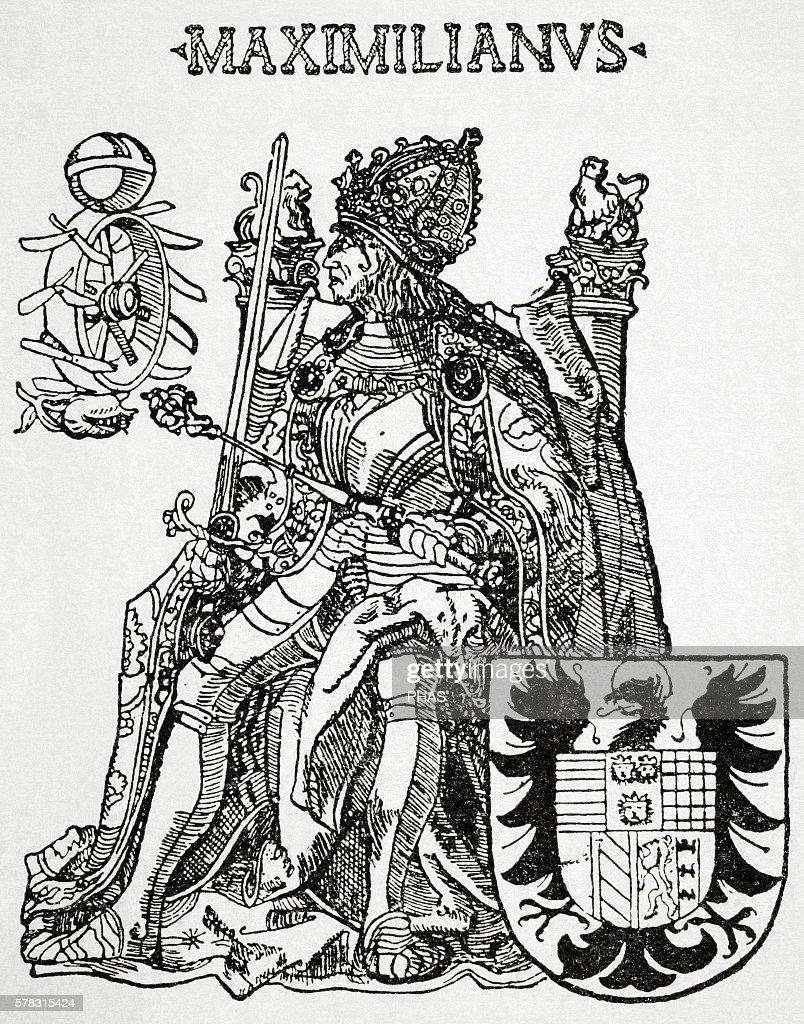 Maximilian I Holy Roman Emperor Engraving in 'Historia Universal' 1881
