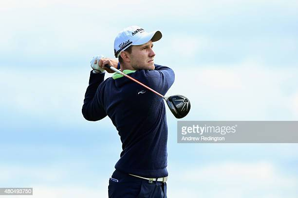 Maximilian Kiefer of Germany hits his tee shot on the first hole during the final round of the Aberdeen Asset Management Scottish Open at Gullane...