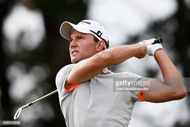 Maximilian Kieffer of germany hits his second shot on the 1st hole during the KLM Open Final Round held at Kennemer G CC on September 13 2015 in...