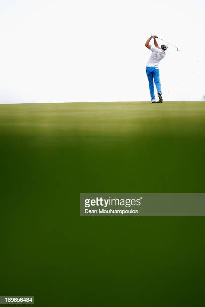 Maximilian Kieffer of Germany hits his second shot on the 2nd hole during Day One of the Nordea Scandinavian Masters at Bro Hof Slott Golf Club on...