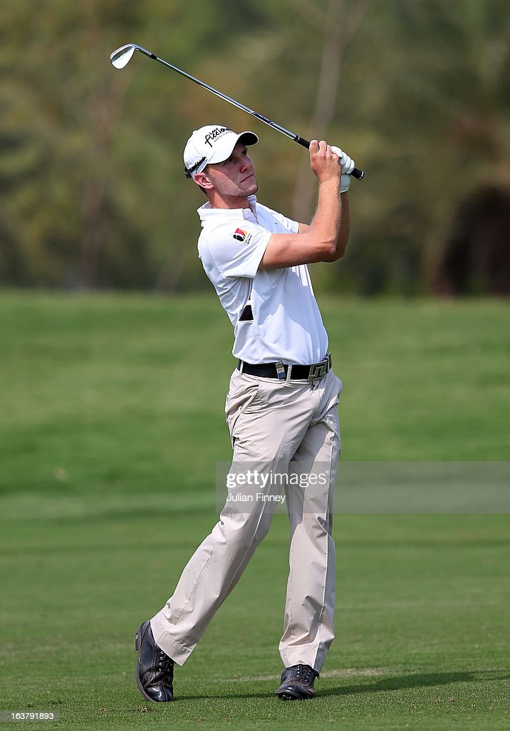 Maximilian Kieffer of Germany in action during day three of the Avantha Masters at Jaypee Greens Golf Club on March 16, 2013 in Delhi, India.