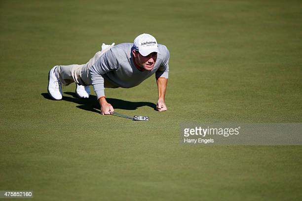 Maximilian Kieffer of Germany lines up a putt on the eighth hole on day one of the Nordea Masters at the PGA Sweden National on June 4 2015 in Malmo...