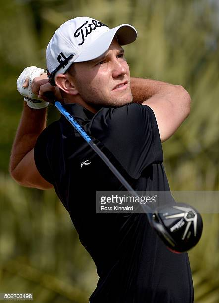 Maximilian Kieffer of Germany on the 2nd during the second round of the Abu Dhabi HSBC Golf Championship at the Abu Dhabi Golf Club on January 22...