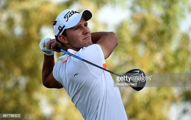 Maximilian Kieffer of Germany on the 2nd tee during the first round of the DP World Tour Championship at Jumeirah Golf Estates on November 19 2015 in...