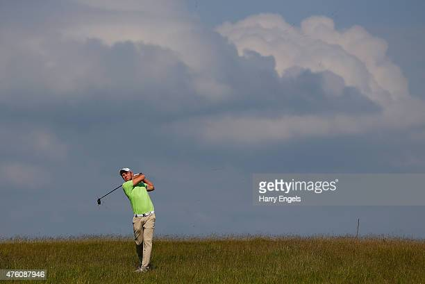 Maximilian Kieffer of Germany plays his second shot out of the rough on the eighth hole on day three of the Nordea Masters at the PGA Sweden National...