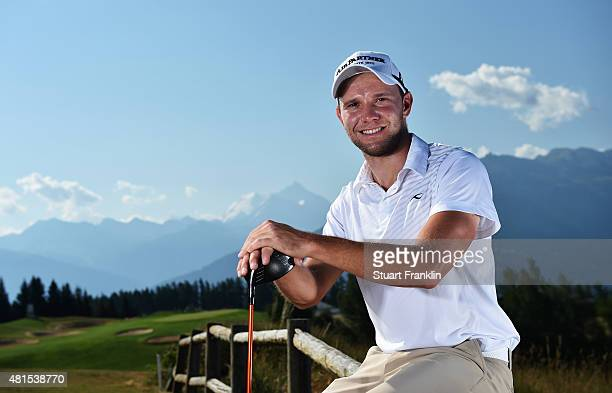Maximilian Kieffer of Germany poses for a picture prior to the start of the Omega European Masters at CranssurSierre Golf Club on July 22 2015 in...