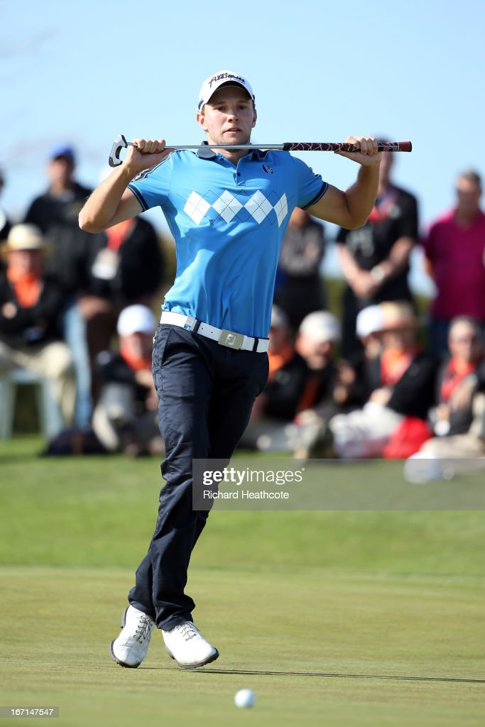 Maximilian Kieffer of Germany reacts as he misses a putt and a chance to win the playoff during the final round of the Open de Espana at Parador de...