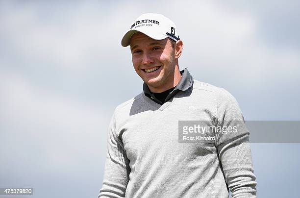 Maximilian Kieffer of Germany smiles on the 2nd green during the Final Round of the Dubai Duty Free Irish Open Hosted by the Rory Foundation at Royal...