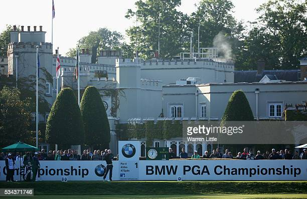 Maximilian Kieffer of Germany tees off on the 1st hole the first tee shot of the day during day one of the BMW PGA Championship at Wentworth on May...