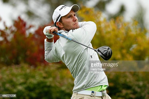 Maximilian Kieffer of Germany tees off on the fifth hole during the proam ahead of the M2M Russian Open at Skolkovo Golf Club on September 2 2015 in...