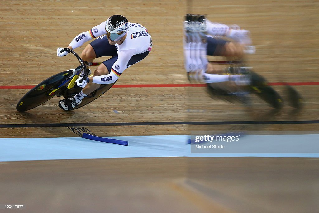 Maximilian Levy of Germany during qualification in the men's sprint on day four of the UCI Track World Championships at Minsk Arena on February 23, 2013 in Minsk, Belarus.