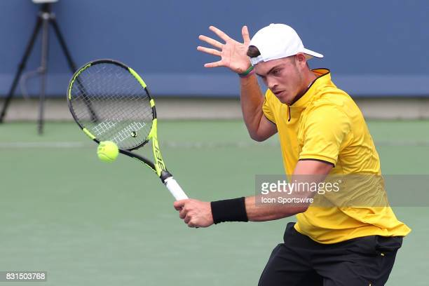 Maximilian Marterer hits a backhand during the Western Southern Open at the Lindner Family Tennis Center in Mason Ohio on August 14 2017