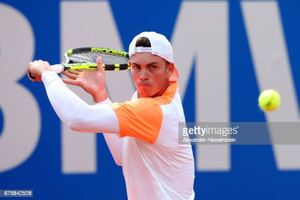 Maximilian Marterer of Germany plays the ball at his first round match against Hyeon Chang of Korea during the 102 BMW Open by FWU at Iphitos tennis...