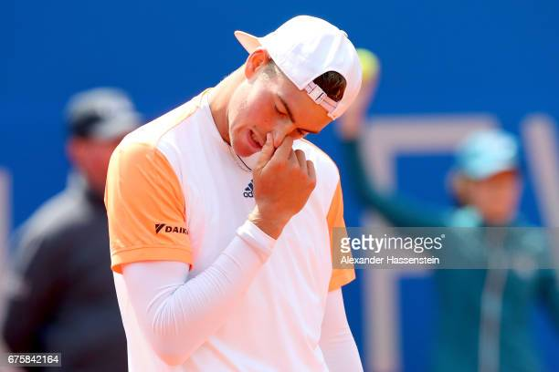 Maximilian Marterer of Germany reacts at his first round match against Hyeon Chang of Korea during the 102 BMW Open by FWU at Iphitos tennis club on...