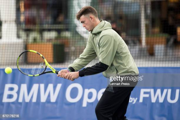 Maximilian Marterer plays a forehand during the BMW Open Show Match at Airport Munich on April 19 2017 in Munich Germany
