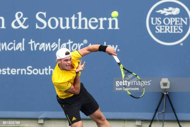 Maximilian Marterer serves during the Western Southern Open at the Lindner Family Tennis Center in Mason Ohio on August 14 2017
