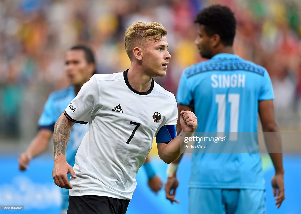 Maximilian Meyer of Germany celebrates after scoring the Men's First Round Football Group C match between Germany and Fiji at Mineirao Stadium on August 10, 2016 in Belo Horizonte, Brazil.