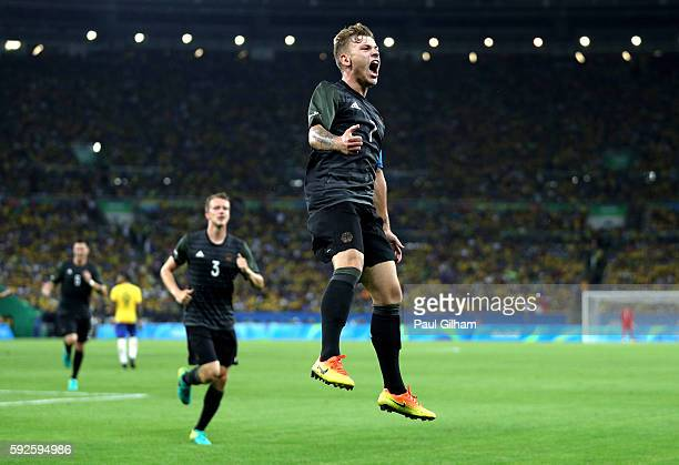 Maximilian Meyer of Germany celebrates scoring during the Men's Football Final between Brazil and Germany at the Maracana Stadium on Day 15 of the...