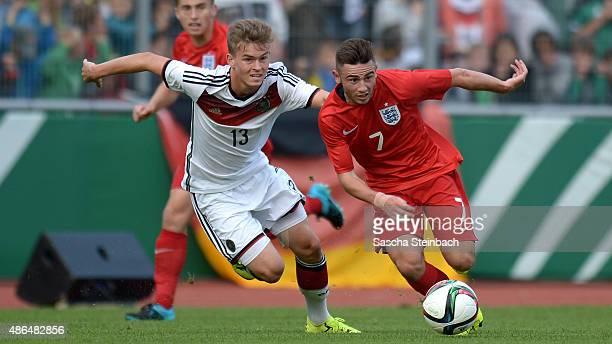Maximilian Mittelstaedt of Germany vies with Patrick Roberts of England during the U19 international friendly match between Germany and England on...
