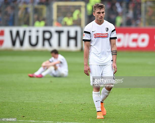 Maximilian Philipp and Vladimir Darida reacting after the Bundesliga match between Sport Club Freiburg and SC Paderborn 07 at SchwarzwaldStadium on...