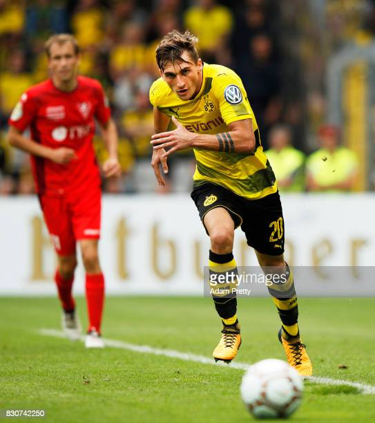 Maximilian Philipp of Borussia Dortmund in action during the DFB Cup match between 1 FC RielasingenArlen and Borussia Dortmund at SchwarzwaldStadion...