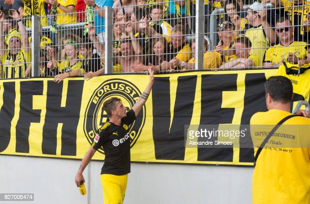 Maximilian Philipp of Borussia Dortmund together with the fans after the final whistle during the preseason friendly match between RotWeiss Erfurt...