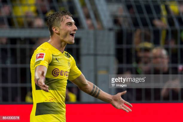 Maximilian Philipp of Dortmund celebrate a goal during the Bundesliga match between Borussia Dortmund and 1 FC Koeln at the Signal Iduna Park on...