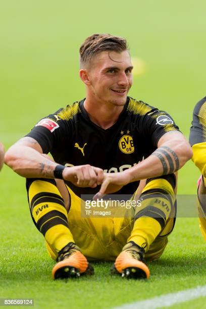 Maximilian Philipp of Dortmund celebrate their win during to the Bundesliga match between VfL Wolfsburg and Borussia Dortmund at Volkswagen Arena on...