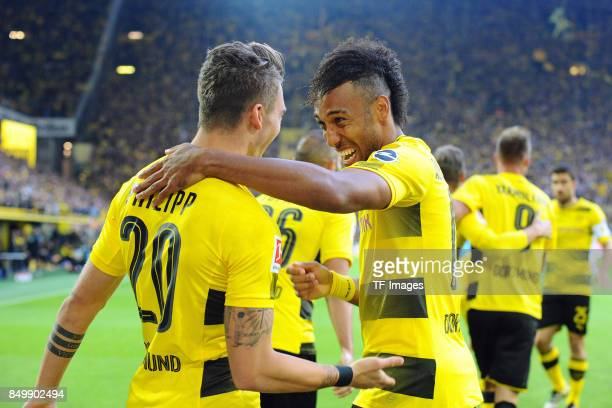 Maximilian Philipp of Dortmund celebrates after scoring his team`s first goal during the Bundesliga match between Borussia Dortmund and 1 FC Koeln at...