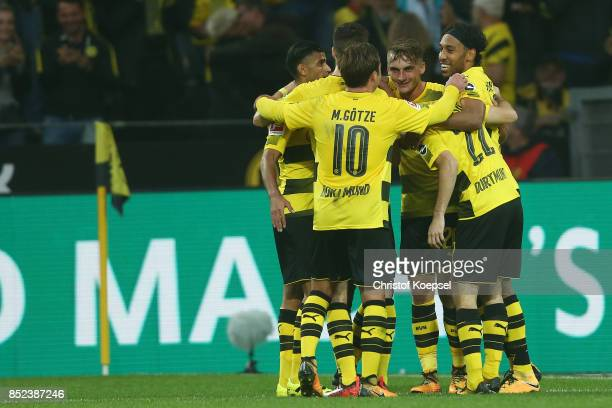 Maximilian Philipp of Dortmund celebrates with team mates after the scored to make it 20 during the Bundesliga match between Borussia Dortmund and...
