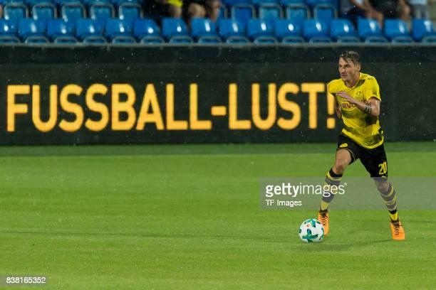 Maximilian Philipp of Dortmund controls the ball during a friendly match between Borussia Dortmund and Atalanta Bergamo as part of the training camp...