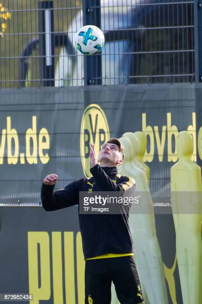 Maximilian Philipp of Dortmund controls the ball during a training session at BVB trainings center on November 5 2017 in Dortmund