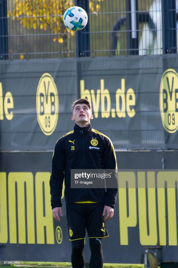 Maximilian Philipp of Dortmund controls the ball during a training session at BVB trainings center on November 5, 2017 in Dortmund.