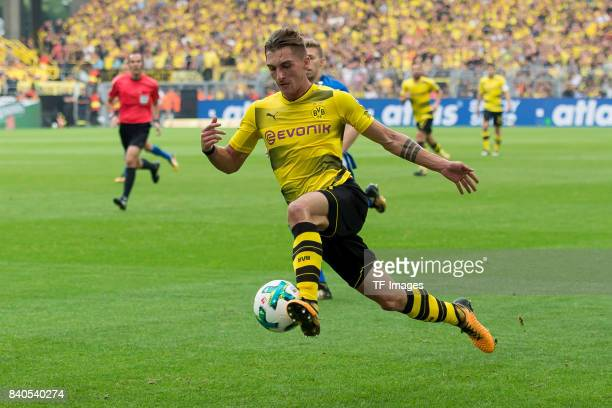 Maximilian Philipp of Dortmund controls the ball during the Bundesliga match between Borussia Dortmund and Hertha BSC at Signal Iduna Park on August...