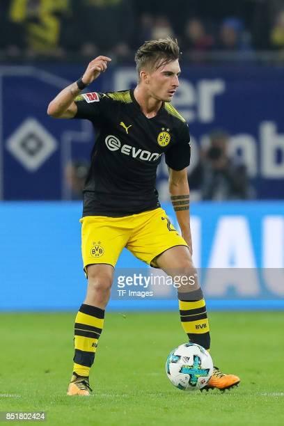 Maximilian Philipp of Dortmund controls the ball during the Bundesliga match between Hamburger SV and Borussia Dortmund at Volksparkstadion on...