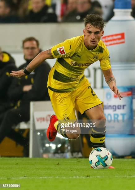 Maximilian Philipp of Dortmund controls the ball during the Bundesliga match between VfB Stuttgart and Borussia Dortmund at MercedesBenz Arena on...
