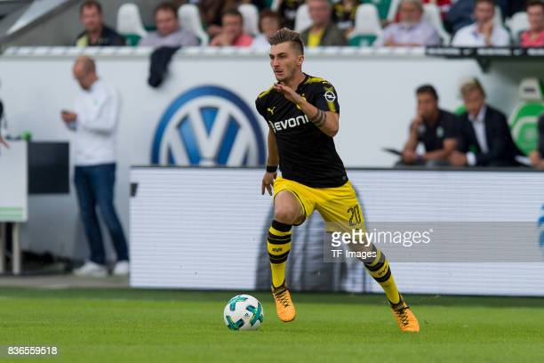 Maximilian Philipp of Dortmund controls the ball during to the Bundesliga match between VfL Wolfsburg and Borussia Dortmund at Volkswagen Arena on...