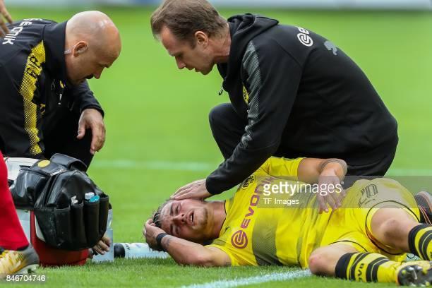 Maximilian Philipp of Dortmund injured during the Bundesliga match between SportClub Freiburg and Borussia Dortmund at SchwarzwaldStadion on...