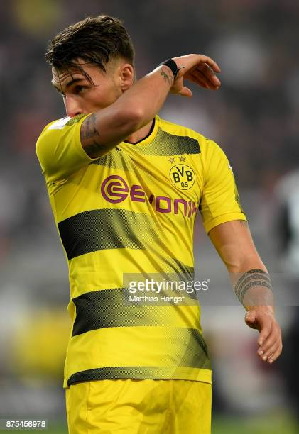 Maximilian Philipp of Dortmund looks dejected during the Bundesliga match between VfB Stuttgart and Borussia Dortmund at MercedesBenz Arena on...