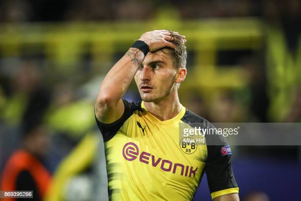 Maximilian Philipp of Dortmund reacts during the UEFA Champions League group H match between Borussia Dortmund and APOEL Nikosia at Signal Iduna Park...